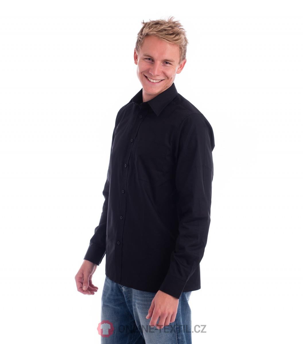 41c4fc9e446 ADLER CZECH Pánská košile Style LS s dlouhým rukávem 209 - černá z ...