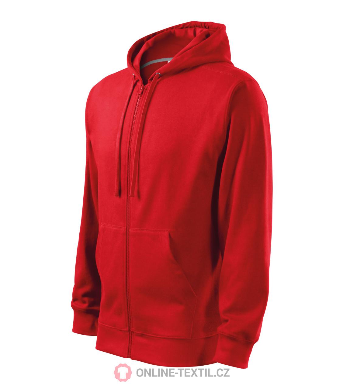 ADLER CZECH Pánská mikina Trendy Zipper s kapucí 410 - červená z ... cf7fce6881