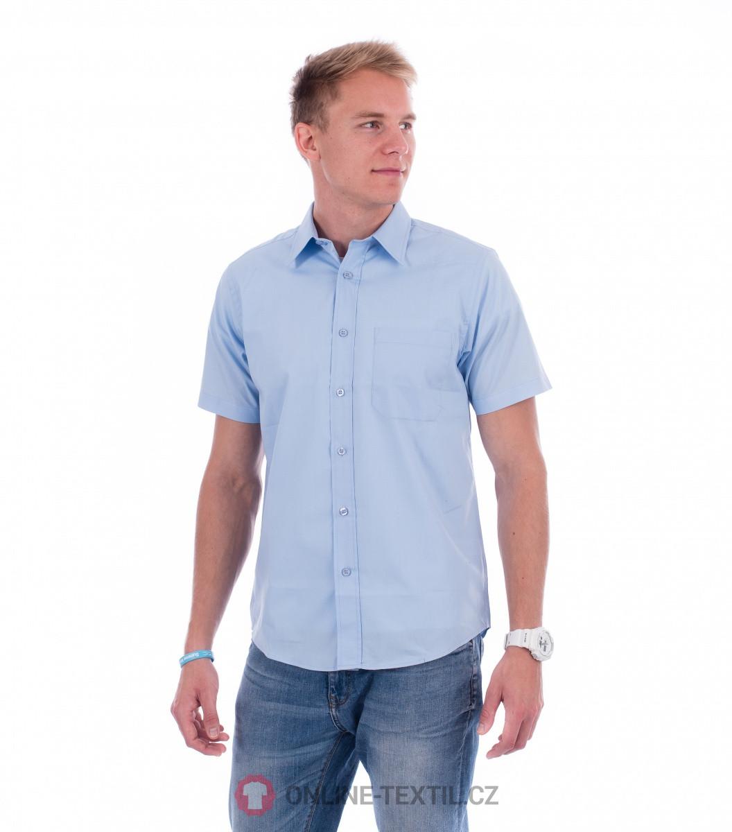 ADLER CZECH Pánská košile Chic s krátkým rukávem 207 - nebesky modrá ... d0eed27ef9