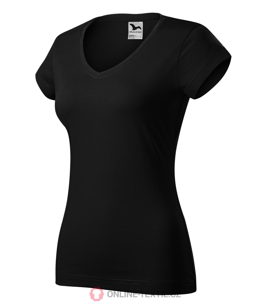 1d44d5cbb ADLER CZECH Fit V-neck tričko dámské vyšší gramáže 162 - černá z ...
