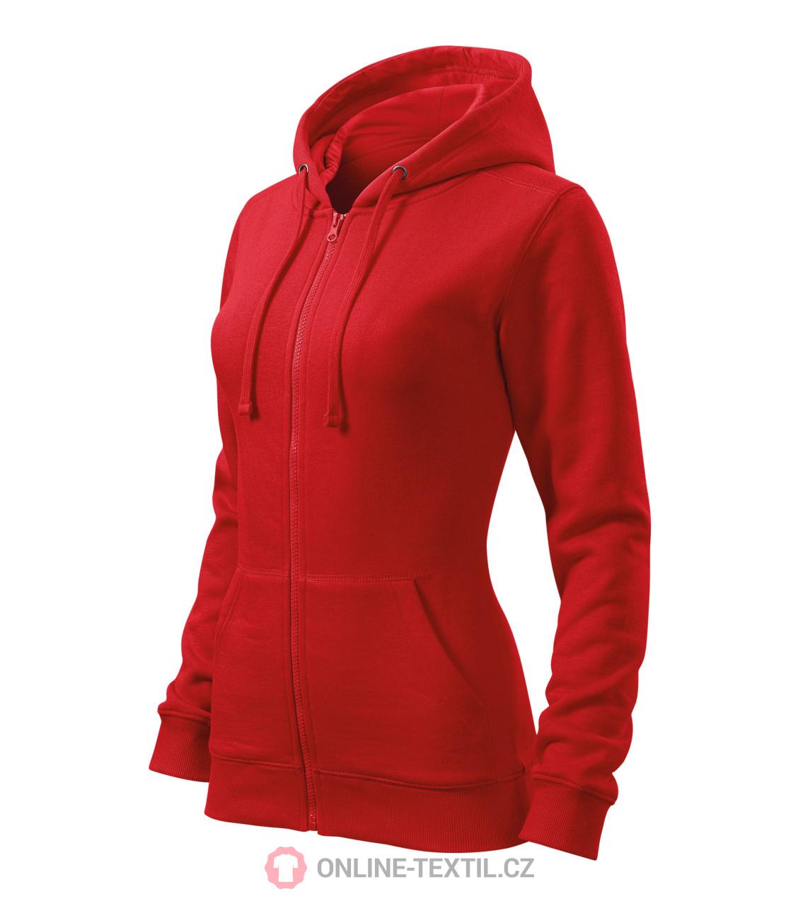 1556de199621 ADLER CZECH Dámská mikina Trendy Zipper s kapucí 411 - červená z ...