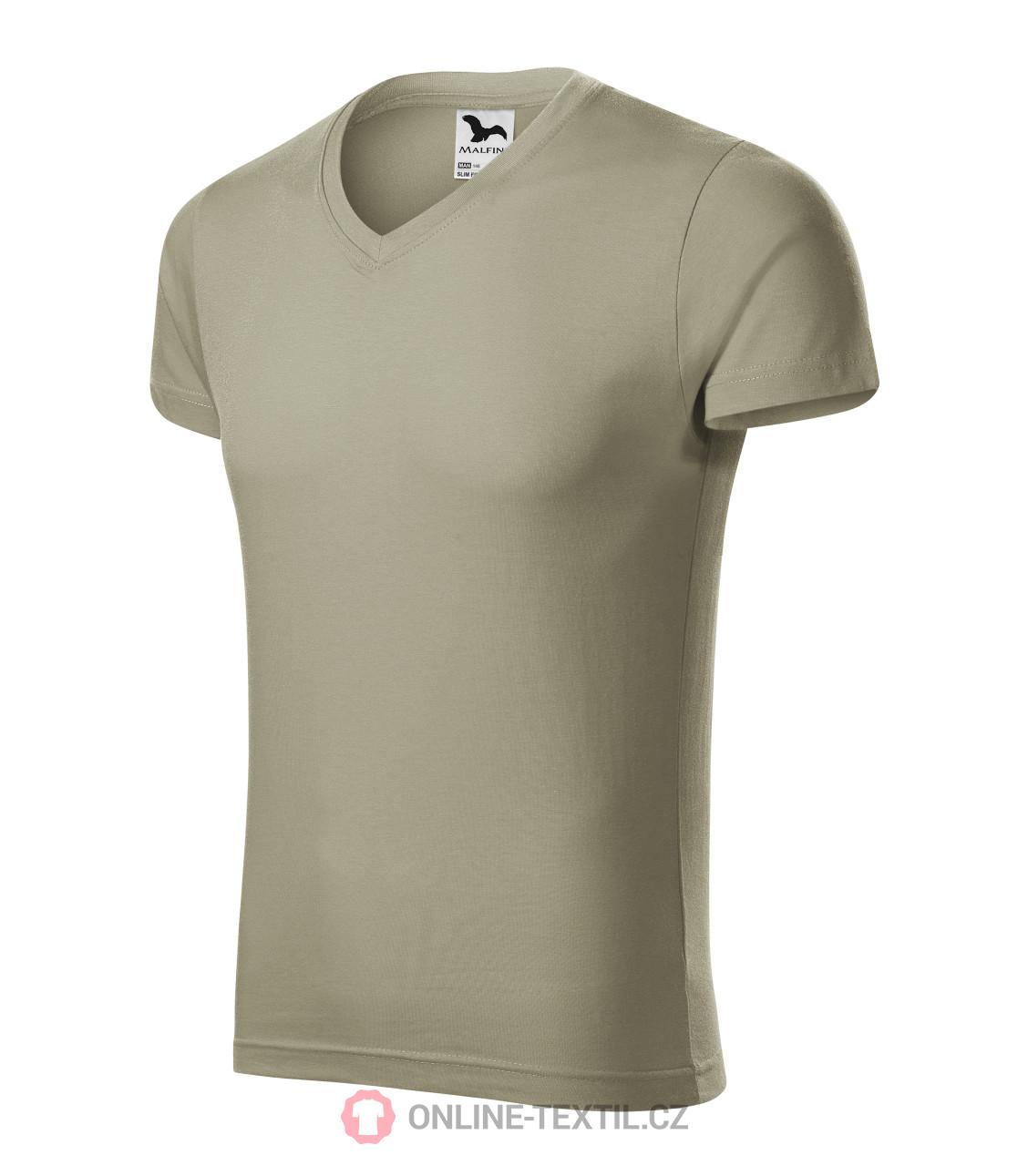 7b916a32b4f1 ADLER CZECH Přiléhavé pánské tričko Slim Fit V-neck vyšší gramáže ...